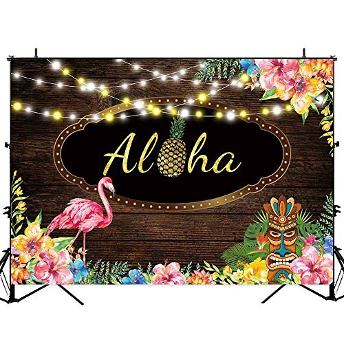 Allenjoy 7x5ft Aloha Luau Party Wood Backdrop Hawaiian Floral Wooden Board Tiki Sculpture Photography Background Summer Tropical Flamingo Adult Kids Birthday Decoration Banner Photo Booth Props -