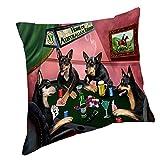 Home of Australian Kelpies 4 Dogs Playing Poker Throw Pillow (18x18)