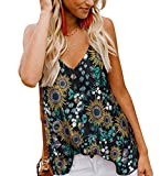 SALENT Women's Summer Button Down V Neck Strappy Tank Tops Loose Casual Sleeveless Flowy Cami Shirts Blouses (S, Z1 Black)