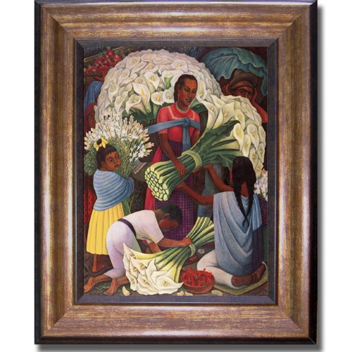 The Flower Vendor by Diego Rivera Premium Bronze-Gold Framed Canvas (Ready-to-Hang)