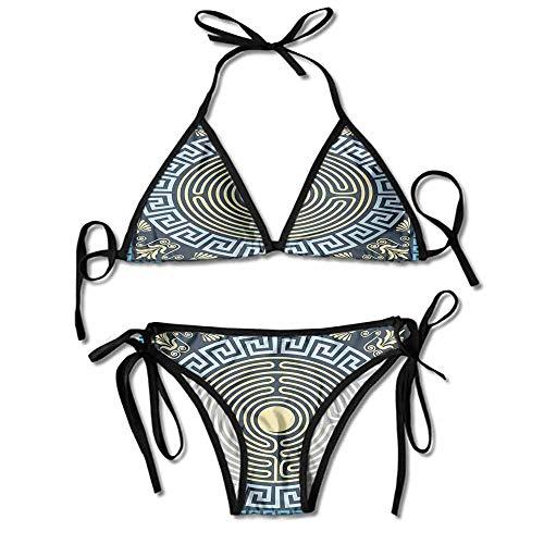 Custom Bikini Zone Bikini Creme Blue Labyrinth Pattern from Ancient Printing