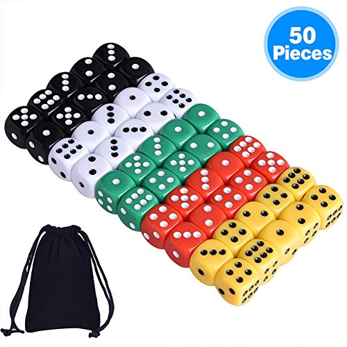 Farkle Dice - Austor 50 Pieces 6- Sided Dice Set, 5 x 10 Different Colors 16mm Acrylic Dice with Free Velvet Pouches for Tenzi, Farkle, Yahtzee, Bunco or Teaching Math