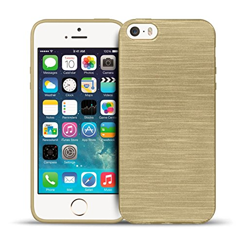 iPhone SE, 5S, 5 Silikon Hülle, Conie Mobile Brushed Case Schlanke Schutzhülle TPU Handyhülle Backcover Rückschale in Gold