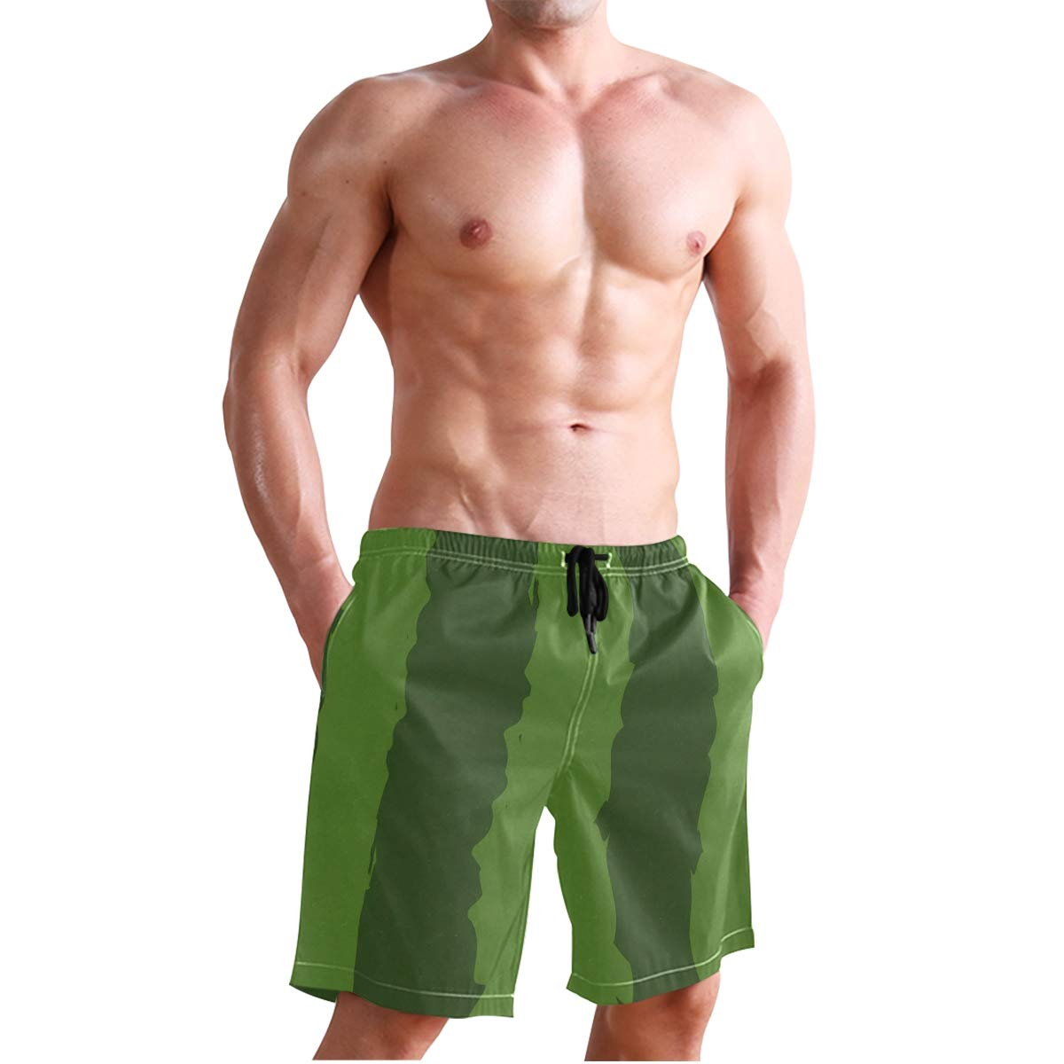 CBSwimTru Mens Fashion Summer Watermelon Peel Pattern Beach Shorts Casual Short Pants
