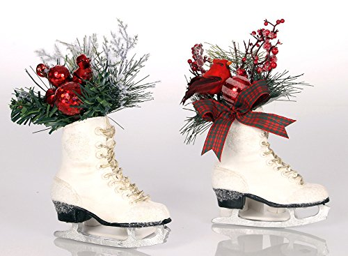Set of 2 Polystone Cardinal Greenery Ice Skate Ornaments, 8 x 5 Inches (Christmas Ice Tree Skate Decoration)