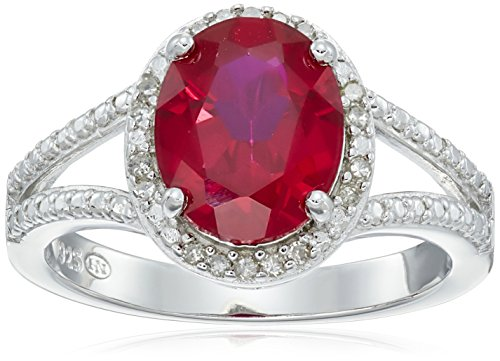 Sterling Silver Created Ruby and Diamond Accented Halo/Split Shank Ring (1/10cttw, I-J Color, I2-I3 Clarity), Size - Ring Shank Twist