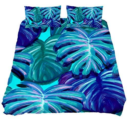LORVIES Leaves Tropical Palma Jungle Duvet Cover Set, Piece - Microfiber Comforter Quilt Bedding Cover with Zipper, Ties, Decorative Bedding Sets with Pillow Shams for Men Women Boys Girls Kids Teens