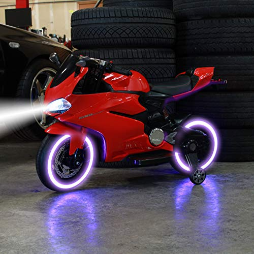 TychoTyke Kids Ride On Motorcycle Tron Bike LED Light Up Tires 12V Battery - Red (23 Inch Motorcycle Wheel)