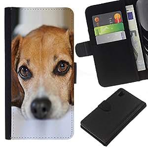 KingStore / Leather Etui en cuir / Sony Xperia Z1 L39 / Perro de perrito lindo Mascotas Mutt Mestizo Sad