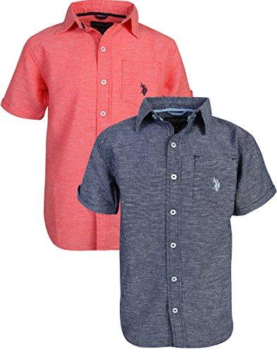 U.S. Polo Assn. Boy\'s Short Sleeve Woven Shirt (2 Pack) Navy/Coral, Size 7'