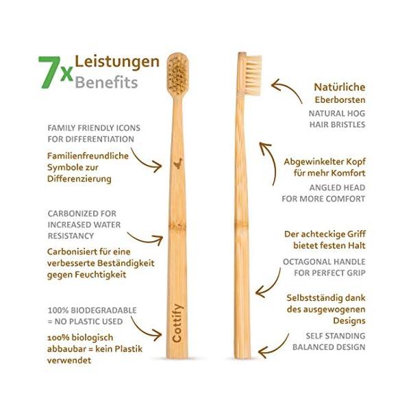 Pack de 4 Brosses à Dents en Bambou Biologique, Fibres Souples en Poils de Sanglier, Biodegradable, Brosse à Dents…