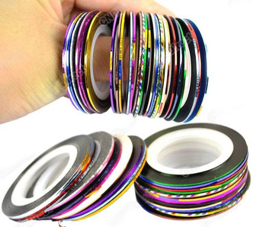 30Pcs Mixed Colors Rolls Striping Tape Line Nail Art Tips Decoration Sticker