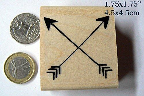 Q12 Crossed Arrows dark Tribal Rubber Stamp (Arrow Stamp)