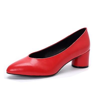 53eaef1ec7 Darco & Gianni Women's Round Closed Toe Block Mid Heel Slip on Pumps Black  Leather Office