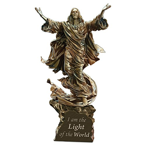 Light Of The World Religious Illuminated Cold-Cast Bronze Jesus Sculpture by The Bradford Exchange