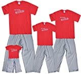 My Family Rocks Red Shirt Pant Set - Adult Medium, S/S, Grey Pants (069)