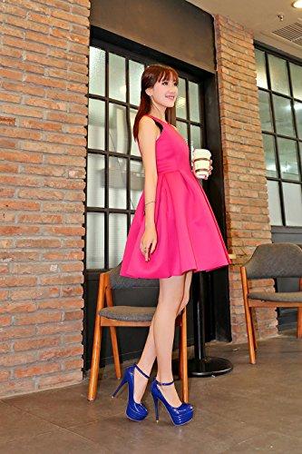 Cheville Mariage Sexy Marine Haut Chaussures Soirée Vernis OALEEN Bride Escarpins Bleue Talon Femme Aiguille Plateforme tq7xXawB