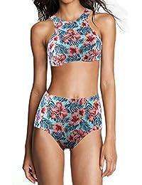 Qiaoer Womens Leaves Pattern High Waist 2 Piece Bikini Set Bathing Suit