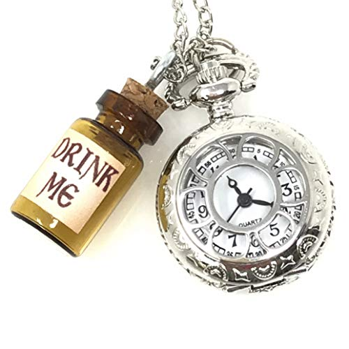 Alice in Wonderland Tea Party Steampunk Pocket Watch Necklace Costume Accessory,Party Supplies Silver