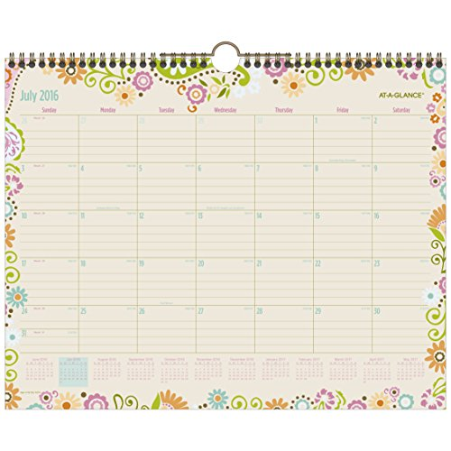 "AT-A-GLANCE Academic Year Wall Calendar, Monthly, July 2016 - June 2017, 15""x12"", Garden Party(W150-707A)"