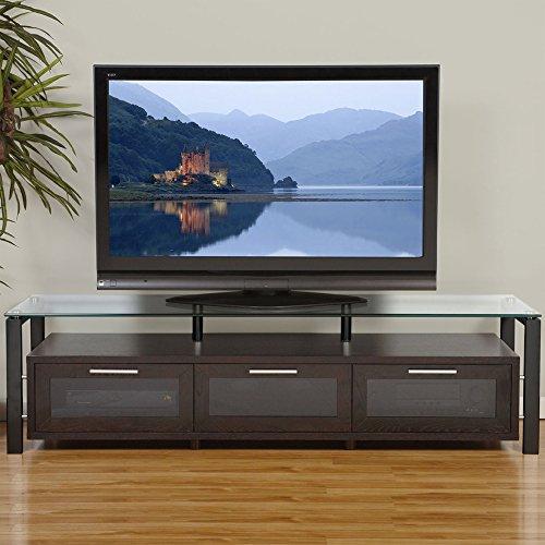 Plateau DECOR 71 ES Wood Glass TV Stand, 71-Inch, Espresso Finish -