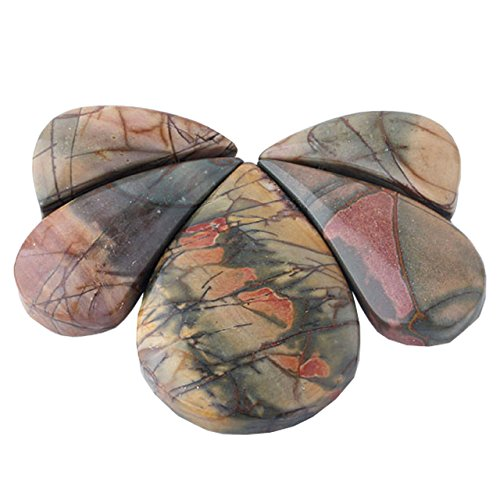 Picasso Jasper Oval Pendant Bead (QGEM 3pcs Picasso Jasper Oval Teardrop Loose Bead Top Drilled,for Jewelry Making,Bar Shileds Stone Set #2)