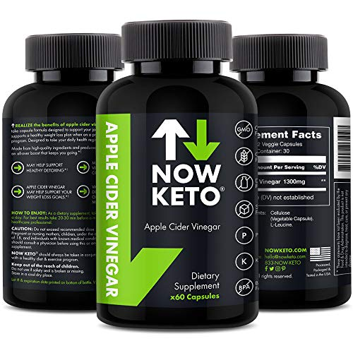 NOW KETO® Apple Cider Vinegar Capsules | Natural Appetite Suppressant | Promotes Digestive Health | Supports Healthy Weight Loss | Helps Blood Sugar | Maintains Low Blood Pressure