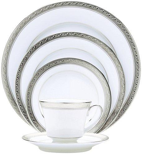 Crestwood Platinum Accent - Noritake Crestwood Platinum 20-Piece Dinnerware Place Setting, Service for 4