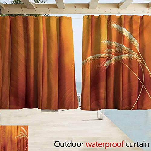 (Wlkecgi Harvest Pergola Curtain Wheat Spikes on Wooden Planks Life in The Countryside Themed Agriculture Print Energy Efficient, Room Darkening W55 xL45 Orange Yellow)