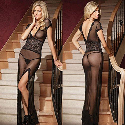Chelsea Gnome (G-string Dress Underwear Sexy-Women's Black Lace Lingerie Nightwear Babydoll Sleepwear)