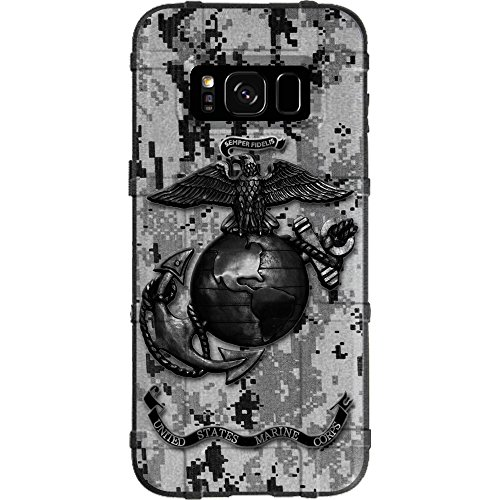 LIMITED EDITION - Authentic Made in U.S.A. Magpul Industries Field Case for Samsung Galaxy S8 (Not for Samsung S8 Active or S8 PLUS) US Marine Corps Subdued Black Grey Digi Camouflage (Subdued Marine)