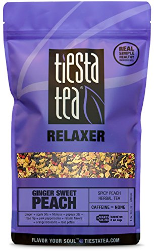 Spicy Peach Herbal Tea | GINGER SWEET PEACH 1 Lb Bag by TIESTA TEA | Caffeine Free | Loose Leaf Herbal Tea Relaxer Blend (Apple Blossom Coffee)