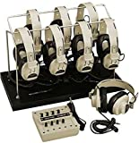 Califone 1218AVP-03 8-Position Monaural Listening Center; Includes: Headphone Storage Rack, Eight 2924AVP Monaural headphones and 8-position 1218AVPY Monaural jackbox