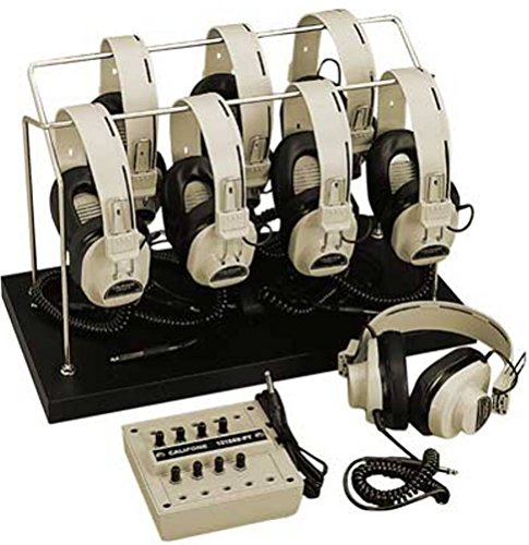 Califone 1218AVP-03 8-Position Monaural Listening Center; Includes: Headphone Storage Rack, Eight 2924AVP Monaural headphones and 8-position 1218AVPY Monaural jackbox by Califone