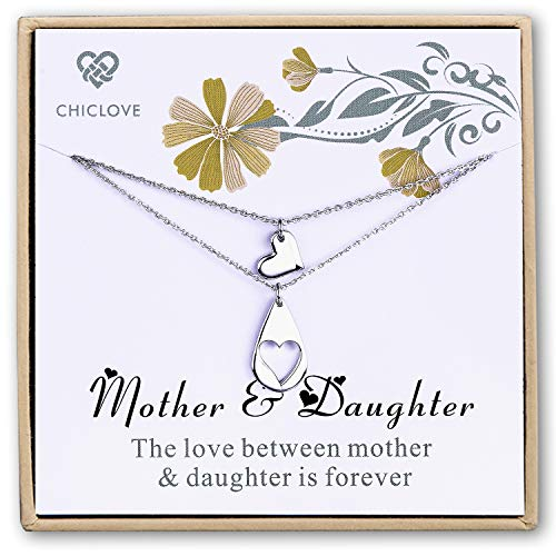 CHICLOVE Mother Daughter Jewelry Sets for Two, Cutout Heart Necklaces, 2 Sterling Silver Necklaces (B - Mommy and me Jewelry Set)