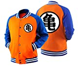 HOLRAN Adult Goku Cosplay DBZ Hoodie Raglan Sleeves Baseball Jacket Sweatshirt (X-Large, Orange)