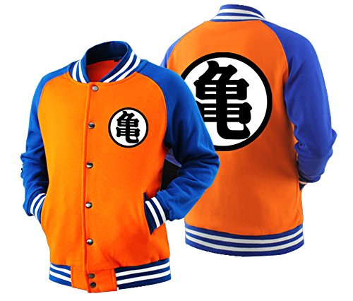 HOLRAN Adult Goku Cosplay DBZ Hoodie Raglan Sleeves Baseball Jacket Sweatshirt (Medium, Orange) (Dragon Ball Z Jacket)