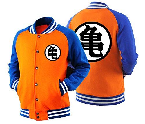[HOLRAN Adult Goku Cosplay DBZ Hoodie Raglan Sleeves Baseball Jacket Sweatshirt (Large, Orange)] (Dragon Ball Z Costume For Adults)