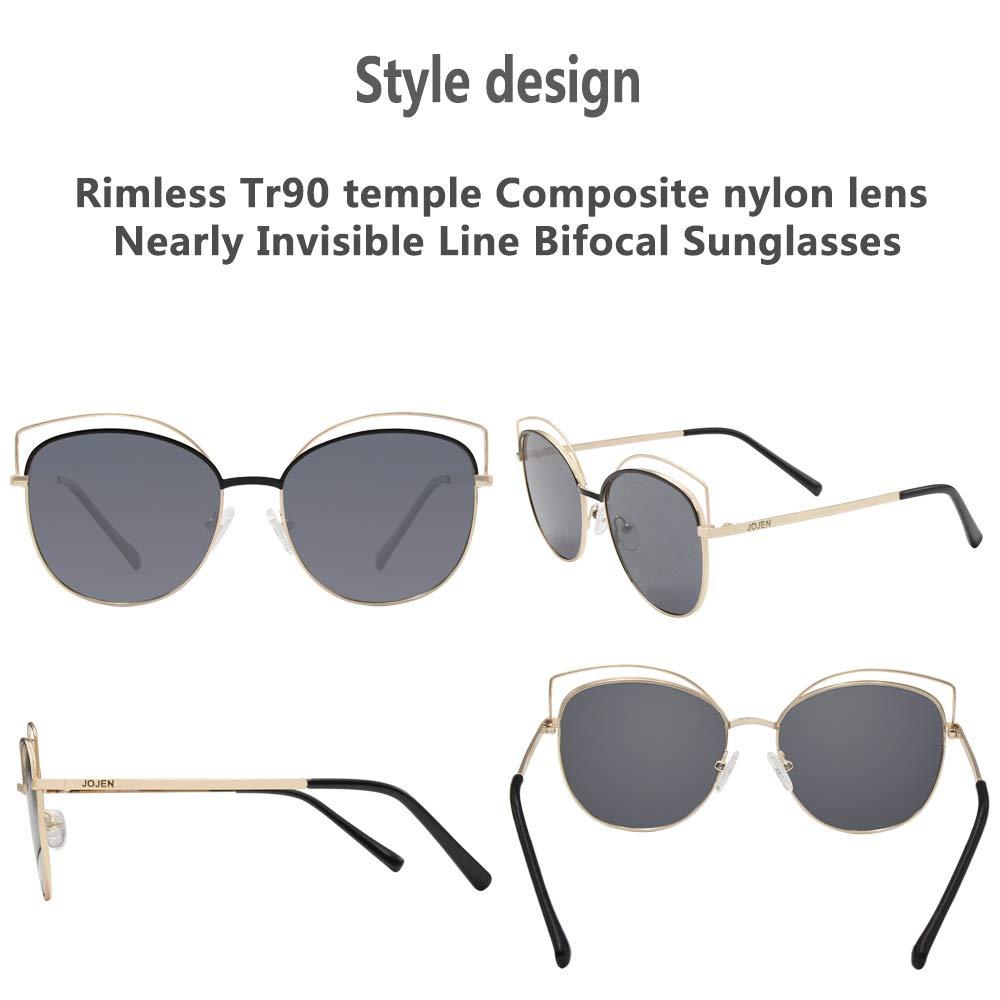 a41da3ee5d0 Amazon.com  JOJEN Semi Rimless Cateye Polarized Sunglasses for Women  Metal TR90 Frame JE015(Black Frame Gradually Grey Lens)  Clothing