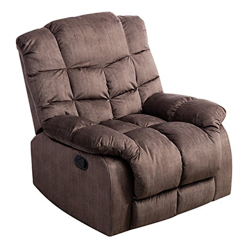 Glider Full Leather Swivel Recliner (BONZY Recliner Chair with Over Stuff Backrest Wide Seat Recliners - Light Brown)