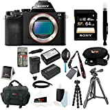 Sony ILCE-7S/B ILCE7SB ILCE-7S a7S Mirrorless Camera w/64GB SD + Sony VCT-R100 Tripod + Wasabi Power Two Replacement NP-FW50 Batteries & One Charger + Accessory Bundle