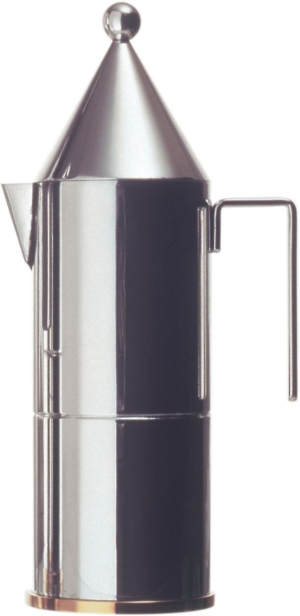 La Conica Espresso / Coffee Maker in Mirror Polished by Aldo Rossi Size: 9.25'' H x 2.95'' Dia.