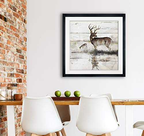 Renditions Gallery PF017-17813-2828BF Abstract Artwork Intimate Blush III Deer Wall Decor Paintings Giclee Prints Art Framed, Single Panel, 28x28, Black