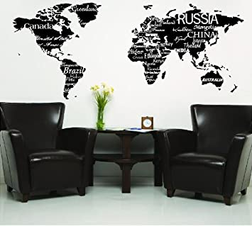 Amazon world map with countries black wall saying vinyl world map with countries black wall saying vinyl lettering home decor decal stickers quotes gumiabroncs