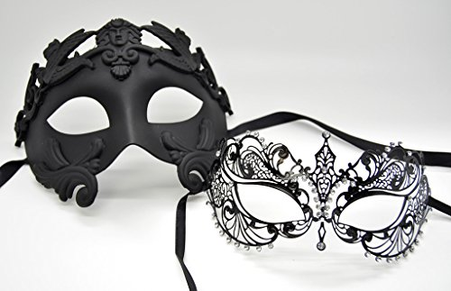 Roman Greek Emperor Masquerade Venetian Mask Black Series Couple Mask Set