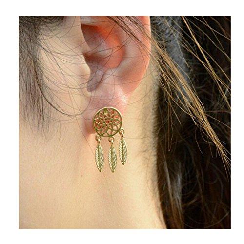 XILALU Fashion Women's Cool dreamcatcher Feathers Alloy Drop Stud Earrings (Gold)