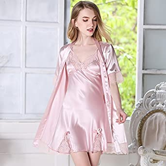 10fe421fec MH-RITA Silk Pajamas Female Summer Nightgown Sling Silk Short Sleeved Two  Suit Ladies Temperament