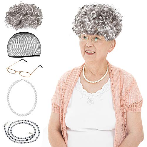 Beelittle Old Lady Costume Cosplay Set for Kids Girls Women - Grandma Granny Wig, Wig Cap,Madea Granny Glasses,Pearl Necklace
