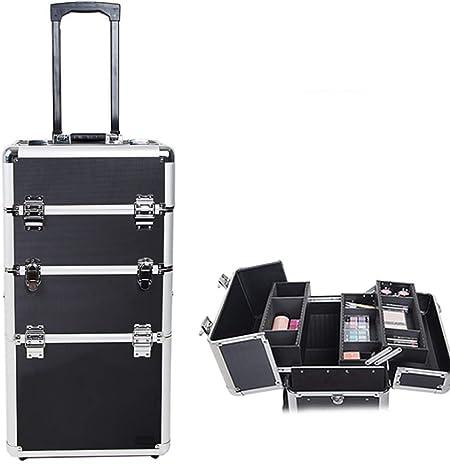 ZHANG 4 en 1 Caja de Maquillaje Profesional de Aluminio para Beautician Artista Viaje cosmética Caja de Maquillaje Almacenamiento/2 Ruedas: Amazon.es: Hogar