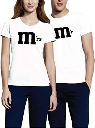 VIVAMAKE - Mr. & Mrs – Camiseta de pareja para hombre y ...